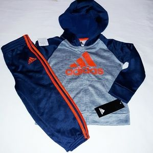 Adidas Boys Infant 2pc Hooded Jogger Truck Suit